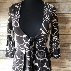 CaBi tie front jacket TunicBrown Mod Graphic #902